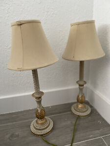 2 Pcs Set Vintage Gold Table Lamps Nightstand