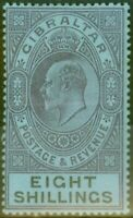Gibraltar 1903 8s Dull Purple & Black-Blue SG54 Fine Mtd Mint