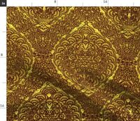 Golden Brocade Medieval Damask Look Spoonflower Fabric by the Yard
