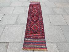 Old Hand Made Afghan Mushvani Tribal Oriental Red Wool Narrow Runner 250x58cm