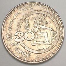 1982 Mexico Mexican 20 Pesos Mayan Culture Coin VF+