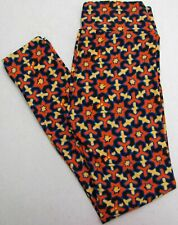 LuLaRoe OS Leggings Stars Geometric Black Orange Blue Women's One Size NWOT