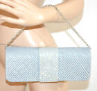POCHETTE ARGENTO donna STRASS cristalli borsello borsa elegante cerimonia E50