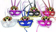 Bulk 10 pcs Peacock Feather Eyes Bling Multi-Colors Masks