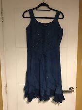 Joe Browns By Coline Denim Look Beaded S/less Dress Sz M