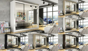 "New Modern Wardrobe ""NOTSA 3"" Sliding Doors Mirror Hanging Rail Shelves 250 cm"