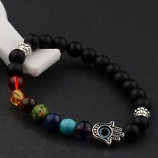 Fashion Man's  8MM Matte Stone Protection Silver Hamsa Charm 7 Chakra Bracelets