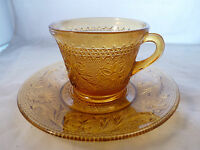 Vintage Tiara Amber Cup Saucer Sandwich Pattern #945 FTD Indiana Glass