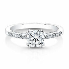 0.81 Ct Cushion Cut Solitaire Diamond Engagement Ring 14K White Gold Size Q