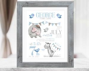Personalised Safari New Baby Boy Gift. Christening Gift. Baby Boy Birth Print