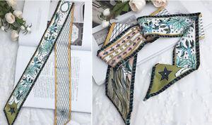 Beautiful Moon Silk Twilly Scarf Long Ribbon Bowtie Hair Handbag handle Wrap