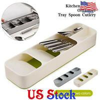 Tray Spoon Cutlery Drawer Storage Box Kitchen Separation Finishing Organizer US