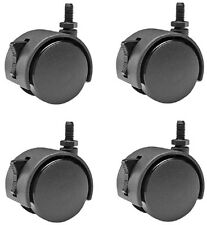 """2"""" Hooded Swivel Threaded Stem Casters with Brake Metric M8 [8mm] - Set of 4"""