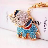 Fashion Rhinestone Elephant Pendant Keyring Key Ring Chain Handbag Decoration