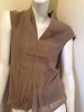 Ermis Light Brown Sleeveless Shirt. New With tags. Size 12. Zip Front.