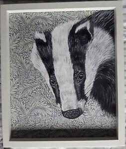 Original wildlife badger picture painting William Morris art Nouveau fabric