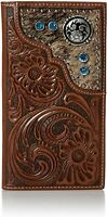 Nocona Mens Floral Embossed Tan Leather Rodeo Wallet Checkbook Cover