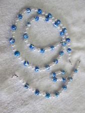 new Necklace, bracelet & pierced earings made with Blue swirl & pearl beads