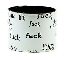 White Sex Word Print Punk Gothic Wrist Bracelet Glam Rock Heavy Metal Club