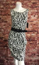 AGB Black White Abstract Belted Sculpted Sheath Dress Size 10