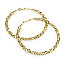 Gold Colour Hoop Earrings Chain Mail Look