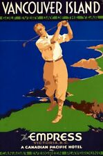 New listing Vintage Illustrated Travel Poster CANVAS PRINT Vancouver Golf Canada A3