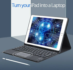 "For iPad 6th Gen 9.7"" 2018 / 5th Gen 2017 Bluetooth Touchpad Keyboard Smart Case"