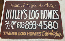 Vintage Uttley's LOG CABIN Homes New Hampshire White Mountains PAINTED SIGN