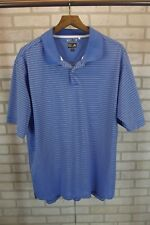 Mens Adidas Golf Polo Shirt Sz L Large Blue White Striped Short Sleeve Climalite