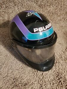 Vintage 1995 Polaris Snowmobile Helmet Indy Racing Checkered Flag Large