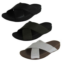 Fitflop Mens Surfer Perforated Leather Slide Shoes