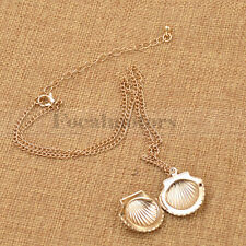 Cute Little Gold Sea Shell Mermaid Locket Pendant Necklace Fashion Lady's Gift