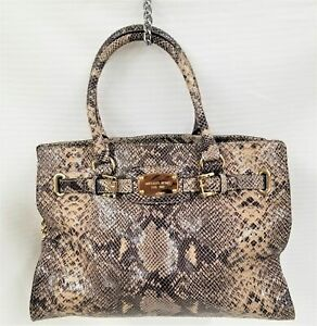 Michael Michael Kors Snake Skin Printed Satchel Hand/Shoulder Bag Purse AQ-1106