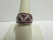 ruby and diamond ring 10kt white gold sz 8.50 wgt 4.9 grams