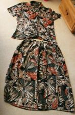 6th Sense Vintage Green Brown Silky 2 piece size 14 Blouse button floaty skirt