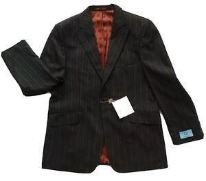 Men's William Hunt Savile Row Two Piece Suit UK 42R & 34L Brown Stripe Wool New