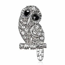 Men Lapel Suit Gift Party Jewelry Fashion Crystal Owl Brooch Pin Animal Women