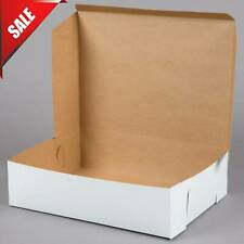 (50/Pack) 19''  x 14''  x 5'' White Paperboard Half Sheet Pastry Cake Bakery Box