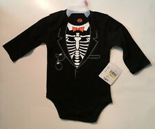 Boy's Skeleton Suit Halloween Bodysuit - 0 to 3M - Black & White - New