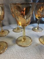 Crystal Gold Tone Glass w/ Hand Gilt Leaves. Cordial Sherry  Stem Ware Set Of 6