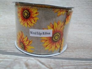 """NEW SUNFLOWER Ribbon 2.5"""" x 3 YD Wired Edge Farmhouse COUNTRY Rustic Burlap-Like"""