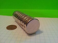 "10 Neodymium N52 disk magnets. Super Strong Rare Earth Magnets 1"" x 1/4"""