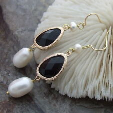 AB011815 White Rice Pearl Black Crystal Earrings- Gold Plated Hook