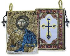 Russian Orthodox Icon Tapestry Rosary Pouch Jesus Christ the Teacher Religious