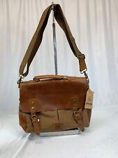 WOWBOX MESSENGER BAG Leather & Canvas Laptop Shoulder Satchel Briefcase Men NICE