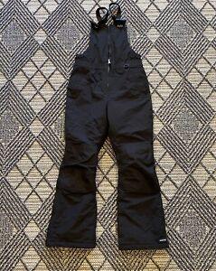 LANDS' END Youth Grow-A-Long Waterproof Bib Nylon Snow Pants Sz 12 Black