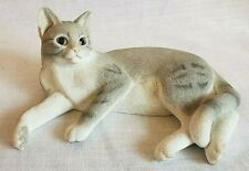 Grey Tabby cat figurine alert lying by Coutry artists Willitts Design 2002 89310