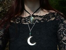 Crescent Moon necklace witch pendant gothic jewelry dark mori strega wiccan luna