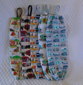 Retro Camper Design Homemade Fabric Plastic Grocery Bag Holder