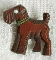 Art Deco Plastic Bakelite Dog Carved Scottish Terrier Scotty Dog Czech Brooch